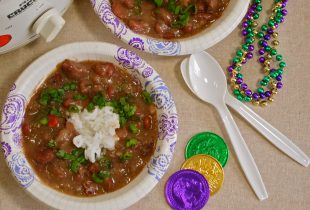 Bowl of Red Beans with Mardi Gras Throws