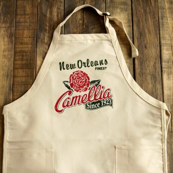 Camellia Apron flat on wood cropped