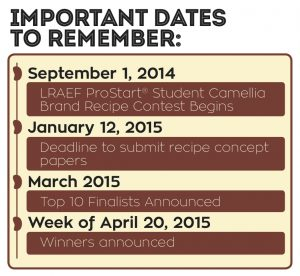 LRAEF Camellia ProStart Recipe Contest Key Dates Graphic
