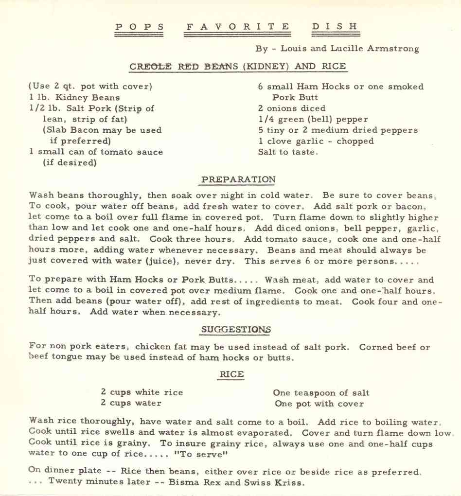 Louis Armstrong Red Beans Recipe
