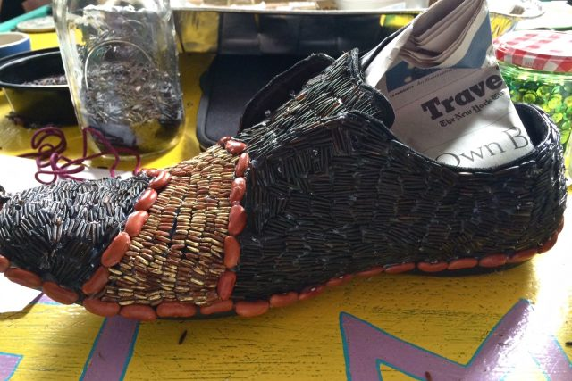 Shoe decorated with Red Beans for the Red Beans Parade