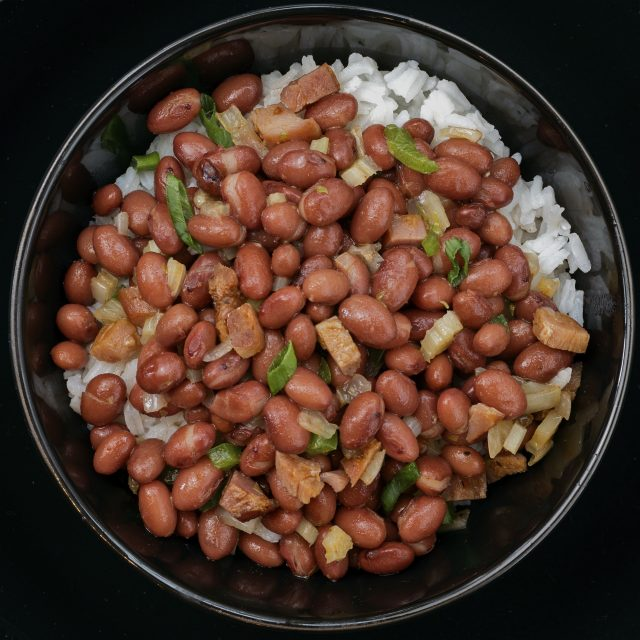 Red Beans Plated Black Bowl Pressure Cooker Blog Featured Image