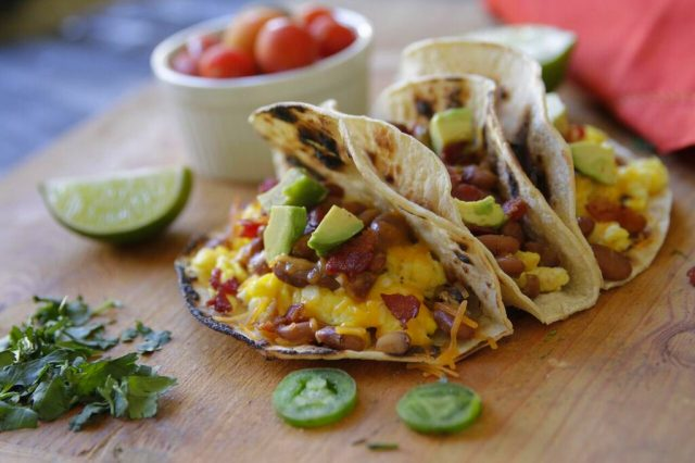 Bacon & Bean Breakfast Tacos recipe from Camellia Beans