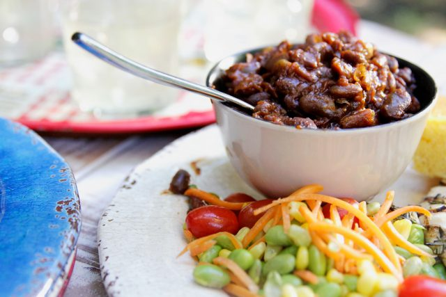 Slow Cooker Bourbon Maple BBQ Beans