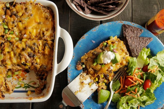 Smoked Chicken and Black Bean Enchilada Casserole