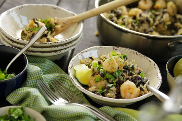 Shrimp and Black Bean Skillet Casserole