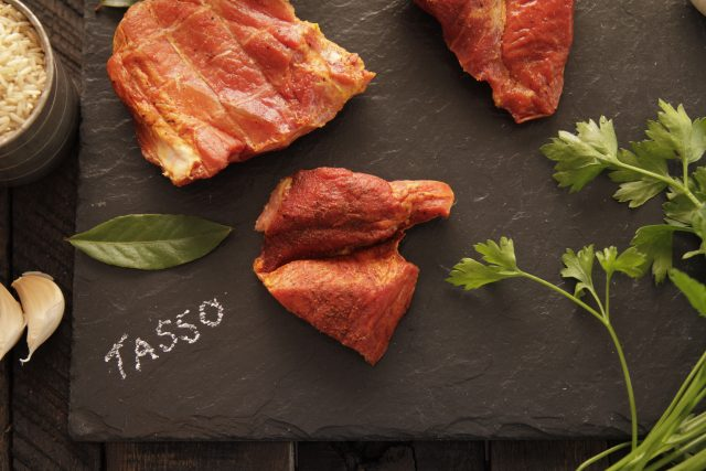 Tasso on board with rice and bay leaf